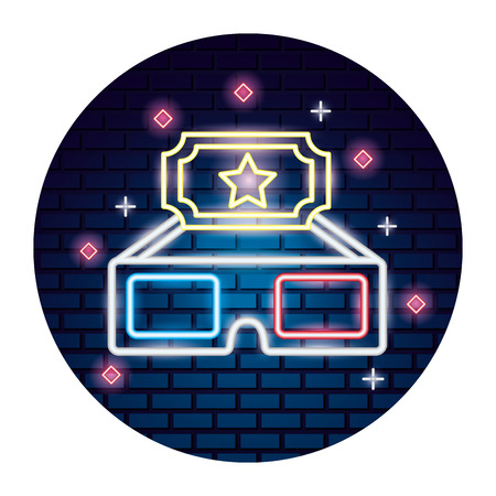 3d glasses ticket movie time neon vector illustration vector illustration Çizim
