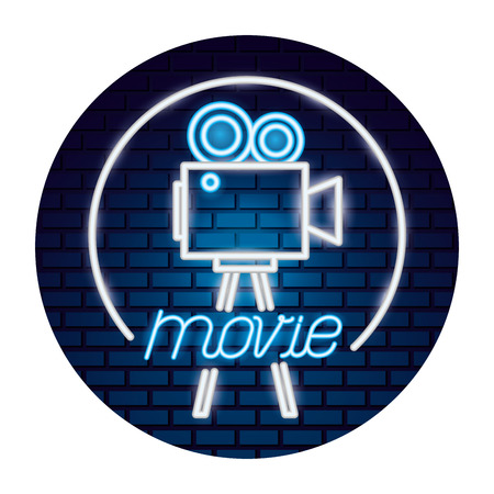 projector camera movie time neon vector illustration vector illustration