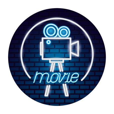 projector camera movie time neon vector illustration vector illustration Stock Vector - 124280201