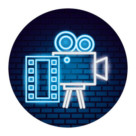 projector camera strip film movie time neon vector illustration vector illustration Illustration