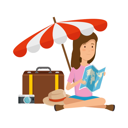 tourist woman with paper map and travel icons vector illustration design Illustration