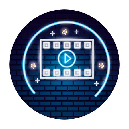 strip film cinema movie time neon vector illustration vector illustration