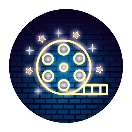 film reel strip movie time neon vector illustration vector illustration