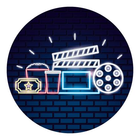 cinema neon set icons vector illustration design