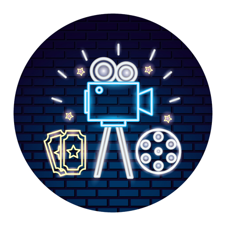 cinema neon set icons vector illustration design Çizim