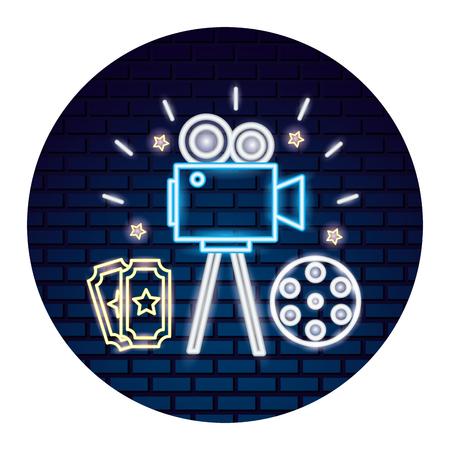 kino neon zestaw ikon wektor ilustracja projekt Ilustracje wektorowe
