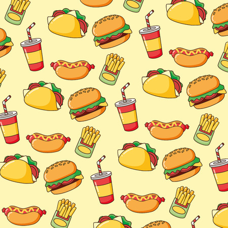 background fast food burger hotdog soda taco vector illustration Illustration