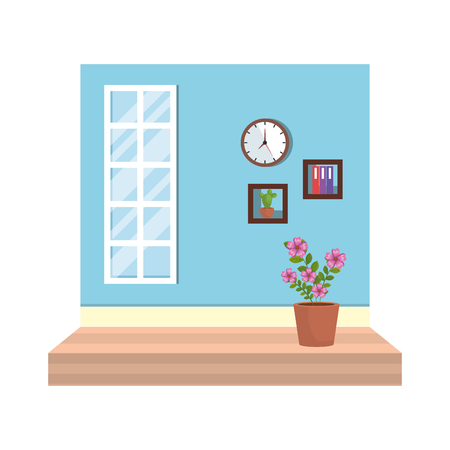 house place with window and houseplant vector illustration design Stock Vector - 119147735