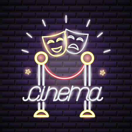 theater cinema movie time neon vector illustration