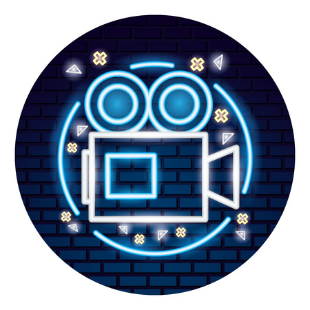 video camera with light of neon icon icon vector illustration design Ilustracja