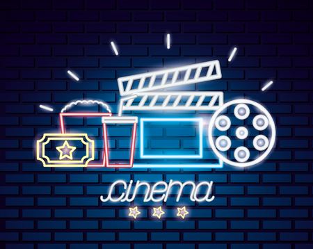 reel clapboard popcorn soda movie time neon vector illustration