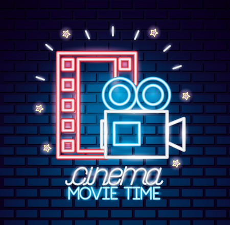 projector strip cinema movie time neon vector illustration