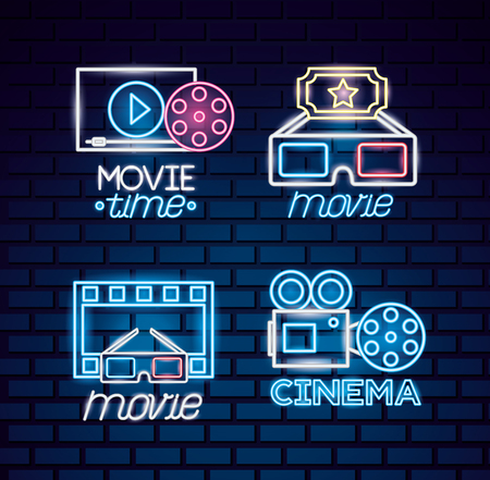 cinema movie time neon set vector illustration Banque d'images - 119155798