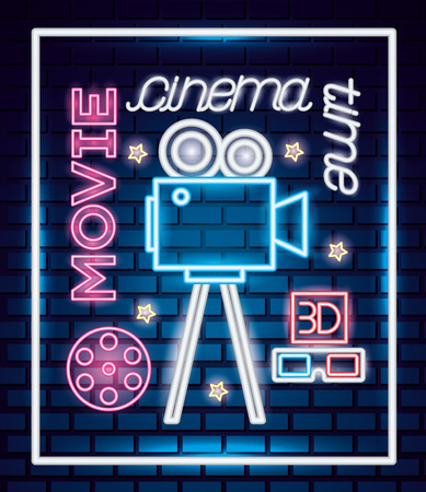 projector movie time neon poster vector illustration Illustration