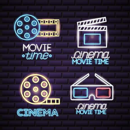 cinema movie time neon set vector illustration Illustration