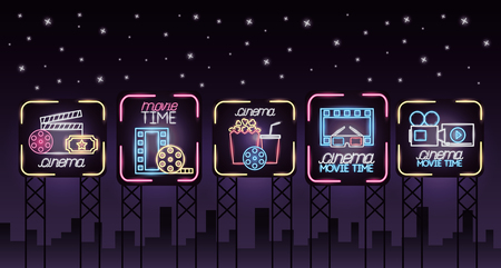 movie time neon billboards advertising vector illustration Ilustração