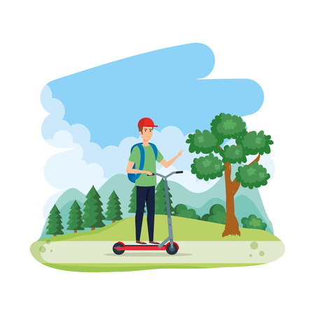 young man in folding scooter on landscape vector illustration design