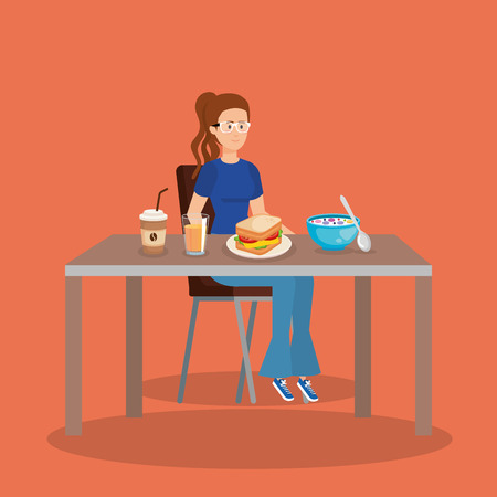 casual woman eating pancakes with coffee vector illustration  イラスト・ベクター素材