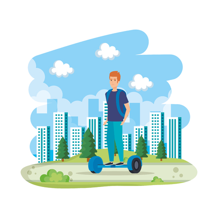young man in hoverboard electric in the landscape vector illustration design