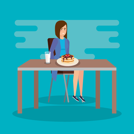 elegant woman eating pancakes with milk vector illustration
