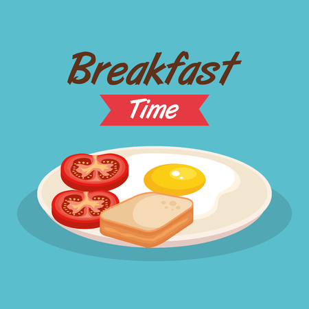 fried egg with sliced bread and tomato vector illustration Çizim