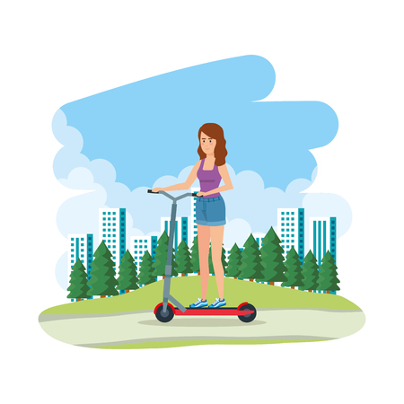 young woman in folding scooter on landscape vector illustration design