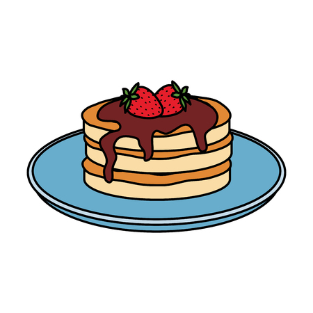 pancakes with chocolate cream and strawberries vector illustration design