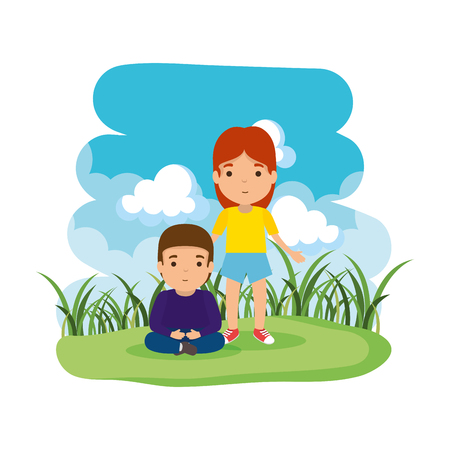 mother with son in the camp vector illustration design