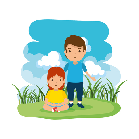 father with daughter in the camp vector illustration design