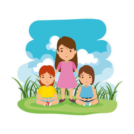 mother with daughters in the camp vector illustration design