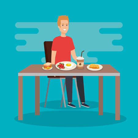 casual man eating sandwich with coffee vector illustration