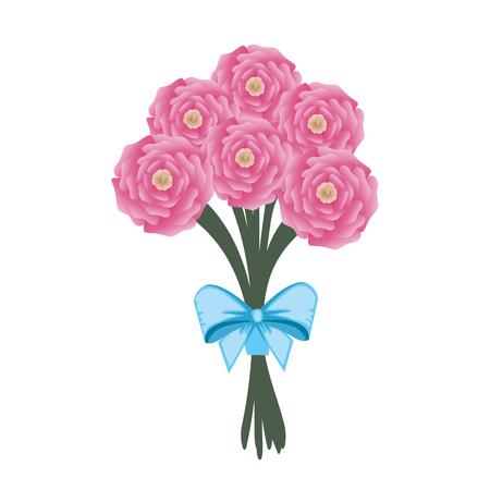 beautiful roses bouquet with bowtie vector illustartion design