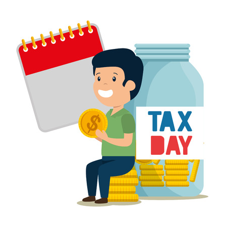 depressed man for money with jar and calendar vector illustration design