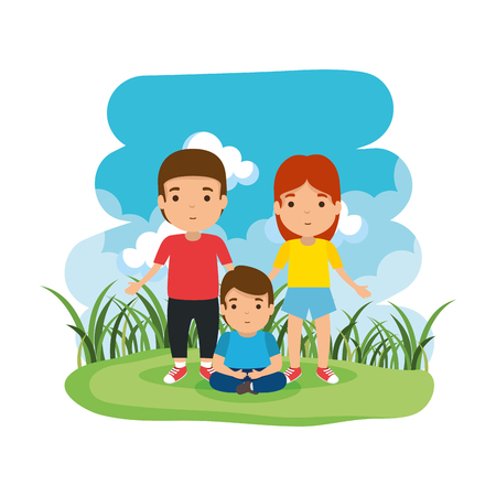 parents couple with son in the camp vector illustration design