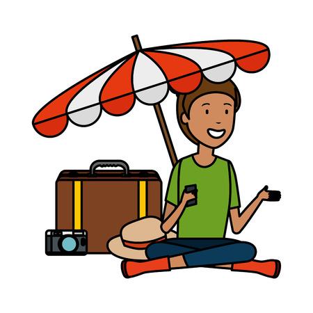 tourist woman with suitcase and umbrella vector illustration design Illustration