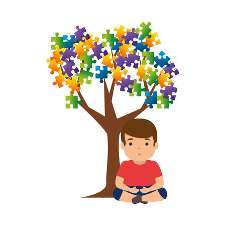 boy with tree puzzle attached vector illustration design Foto de archivo - 119160464