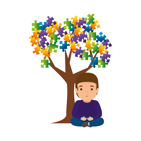 boy with tree puzzle attached vector illustration design