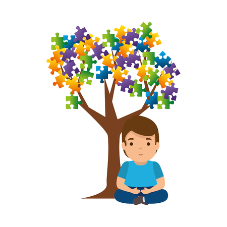 boy with tree puzzle attached vector illustration design Foto de archivo - 119160449
