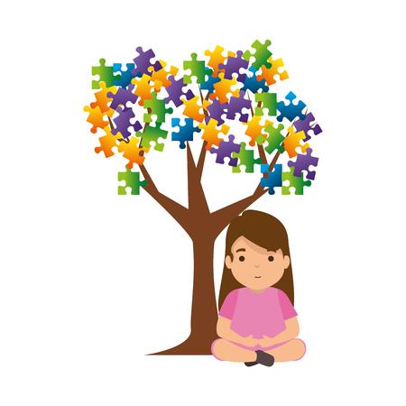 girl with tree puzzle attached vector illustration design Foto de archivo - 119160452