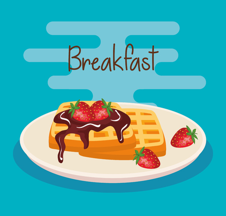 delicious waffles with strawberries and chocolate sauce vector illustration