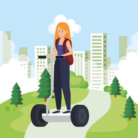 woman riding electric scooter with backpack vector illustration Ilustracja