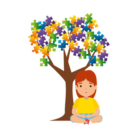 girl with tree puzzle attached vector illustration design Foto de archivo - 119160983