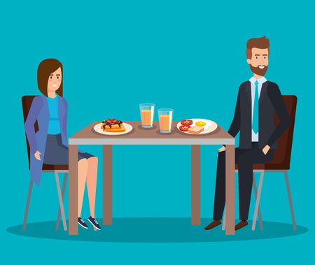 elegant woman and man eating waffles and fried egg vector illustration  イラスト・ベクター素材