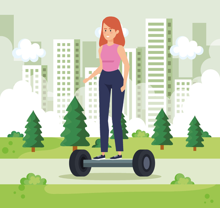 woman riding electric scooter in the urban park vector illustration Ilustracja