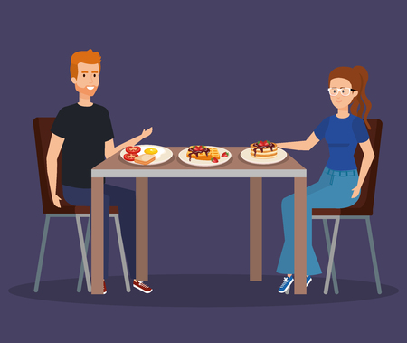 man and woman eating pancakes and fried egg vector illustration