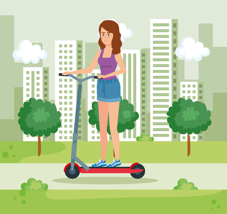 woman riding electric scooter with casual clothes vector illustration