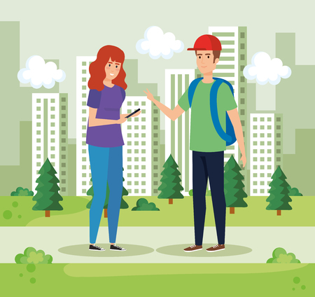 woman and man talking in the park with bushes vector illustration Standard-Bild - 119167837