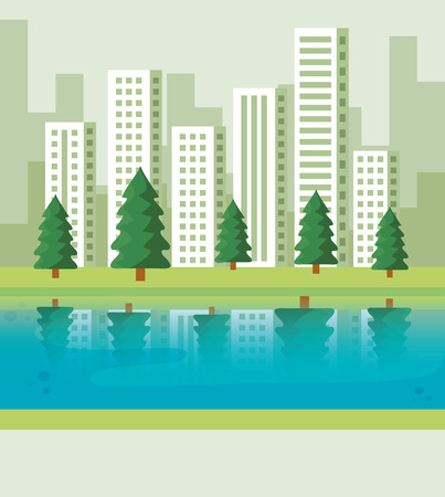 pines trees with river and building cityscape vecor illustration