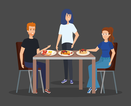 casual people eating pancakes with fried egg vector illustration