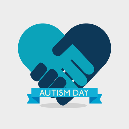 heart with handshake inside and ribbon to autism day vector illustration